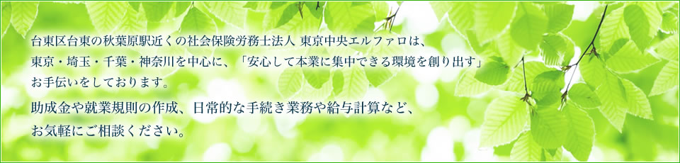 台東区台東の秋葉原駅近くの社会保険労務士法人東京中央エルファロは、東京・埼玉・千葉・神奈川を中心に、「安心して本業に集中できる環境を創り出す」お手伝いをしております。助成金や就業規則の作成、日常的な手続き業務や給与計算など、お気軽にご相談ください。